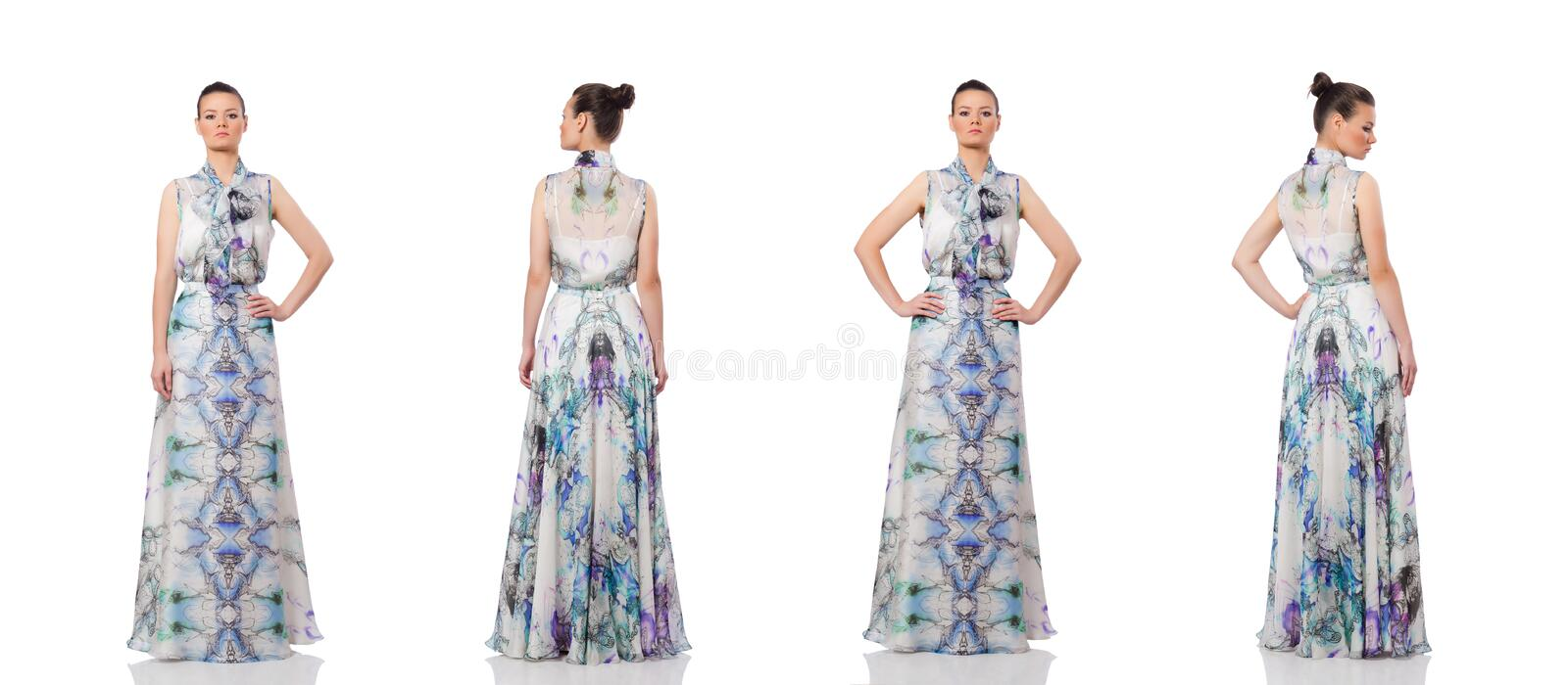 The beautiful girl in elegant long dress isolated on white royalty free stock image