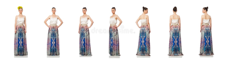 Beautiful girl in elegant long dress isolated on white stock image