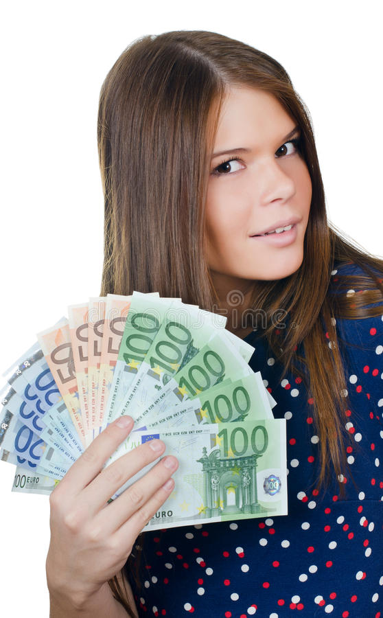 The beautiful girl with euro banknotes royalty free stock photo