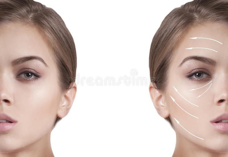 Beautiful girl face arrow correction royalty free stock photography