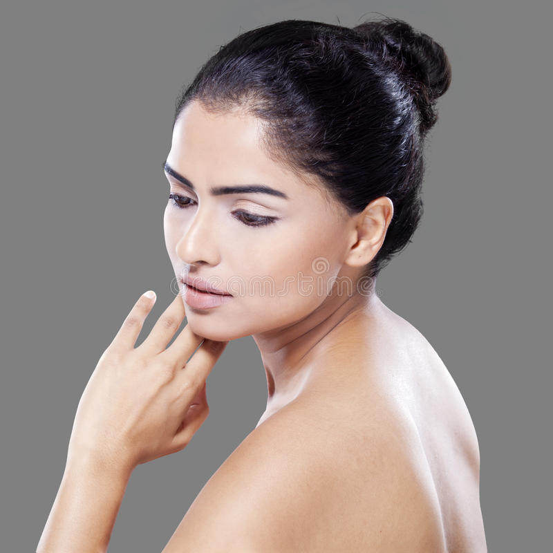 Beautiful girl with face and healthy skin royalty free stock photo