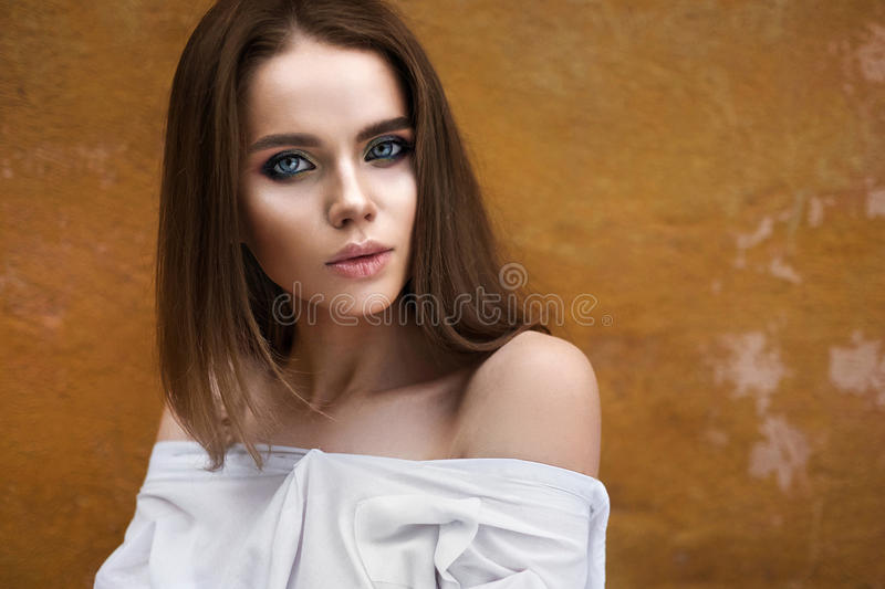 Beautiful girl face outdoor portrait.  stock images