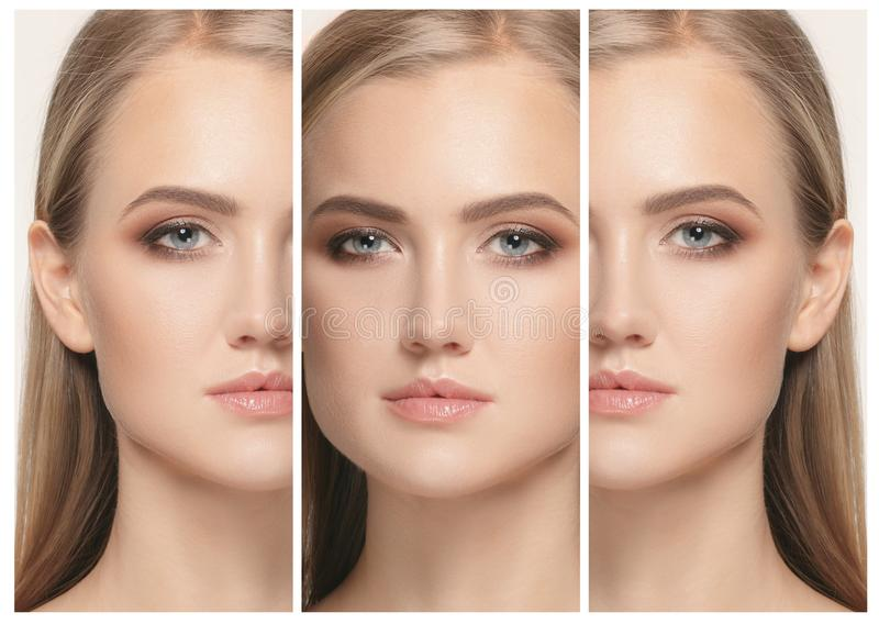 Beautiful Girl face. Perfect skin. The beautiful female face. The perfect and clean skin of face on white, collage royalty free stock image