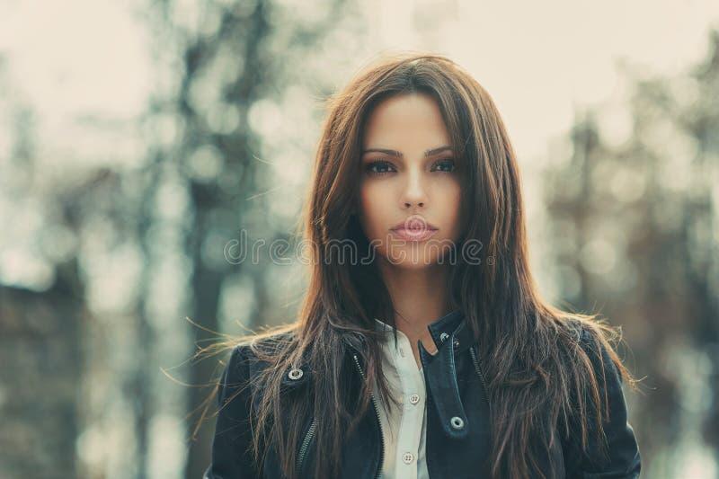 Beautiful girl face portrait outdoor stock photos