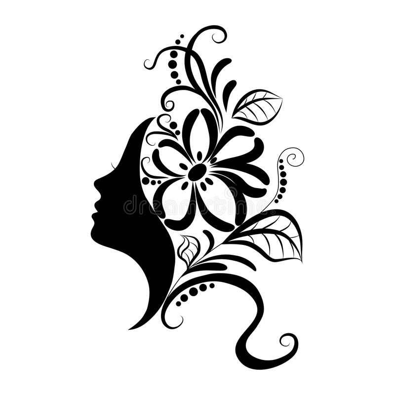 Beautiful girl face with sketch ornate stock images