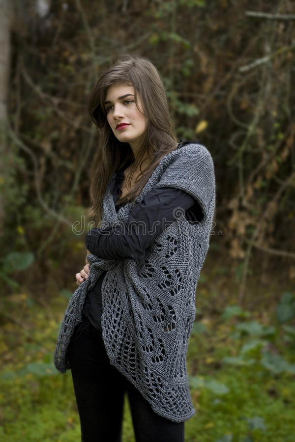 Beautiful Girl in the farm stock image