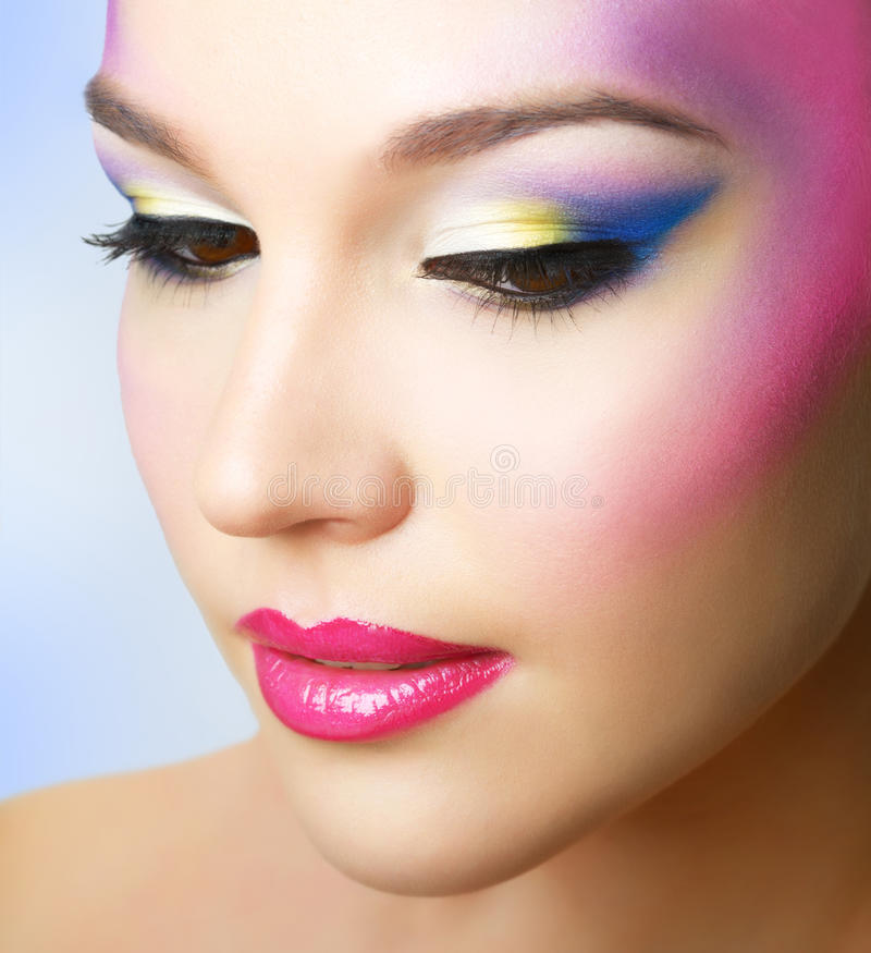 Beautiful girl with fashion bright makeup stock photo
