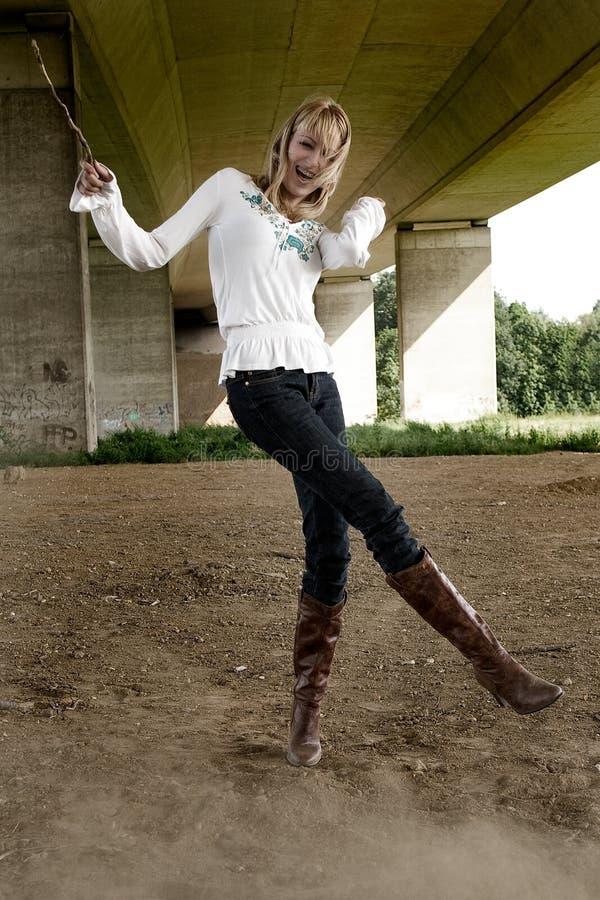 Beautiful girl fashion shoot having fun royalty free stock image