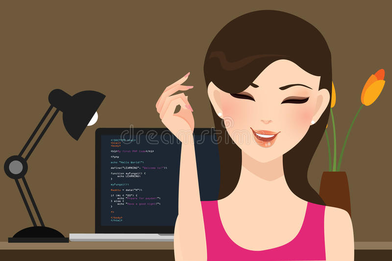 Beautiful girl female programmer occupation jobs programming in laptop screen code behind vector illustration