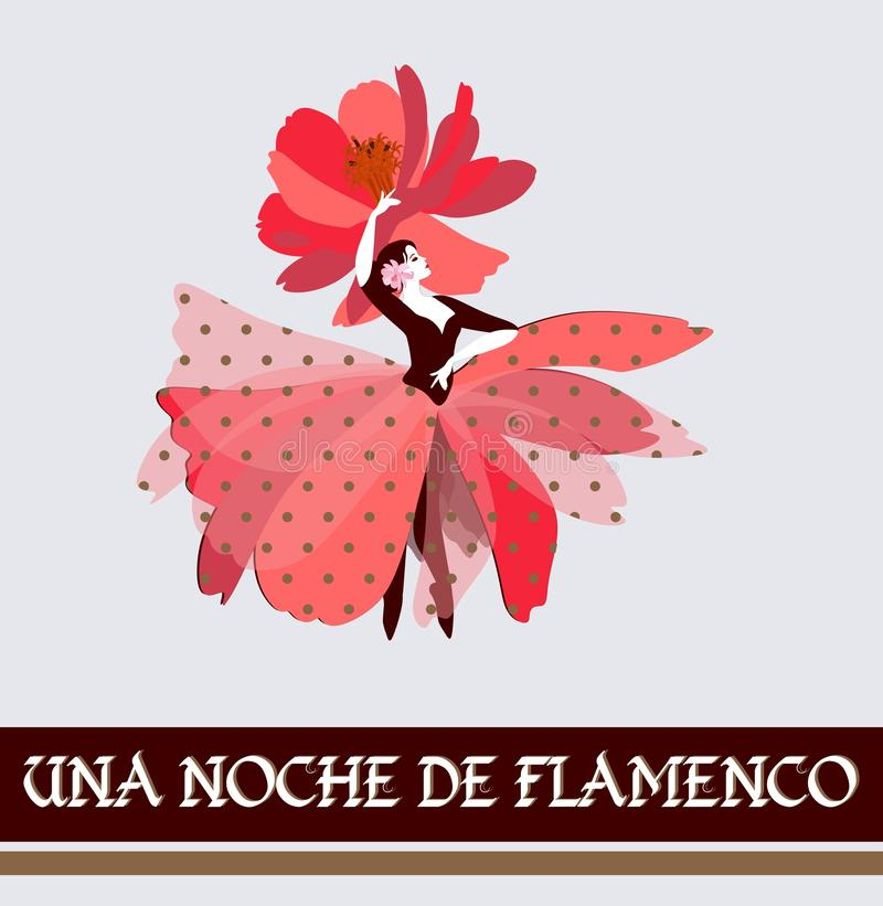 Beautiful girl in a flower-shaped skirt is dancing traditional dance of Spain. Night of Flamenco text in Spanish. Beautiful girl in a flower-shaped skirt is royalty free illustration
