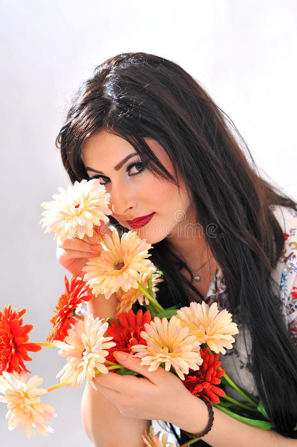 Download Beautiful Girl With Flowers Stock Photo - Image: 22552218