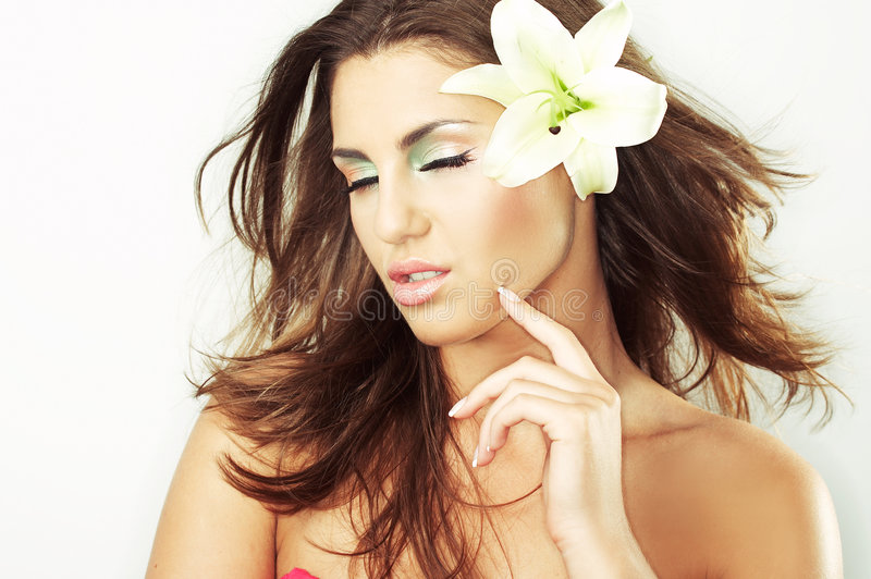 Beautiful Girl With Flowers Royalty Free Stock Photography