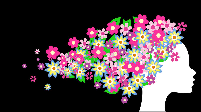 Download Beautiful Girl With Flowers Stock Vector - Illustration of girl, spot: 9194080