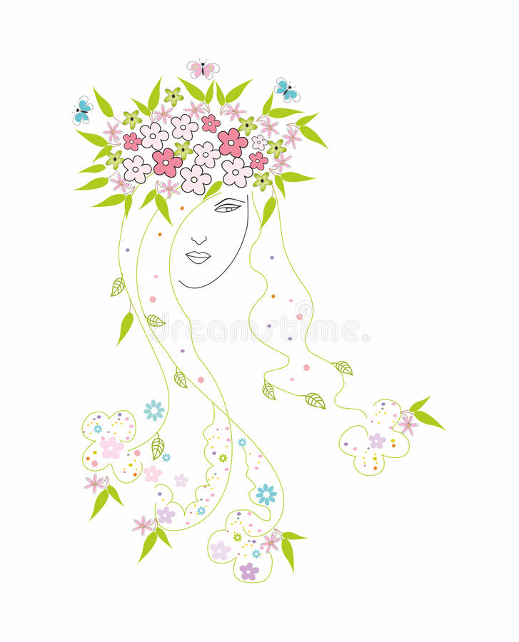 Download Beautiful Girl With Flowers In Hair Stock Vector - Illustration: 23985170