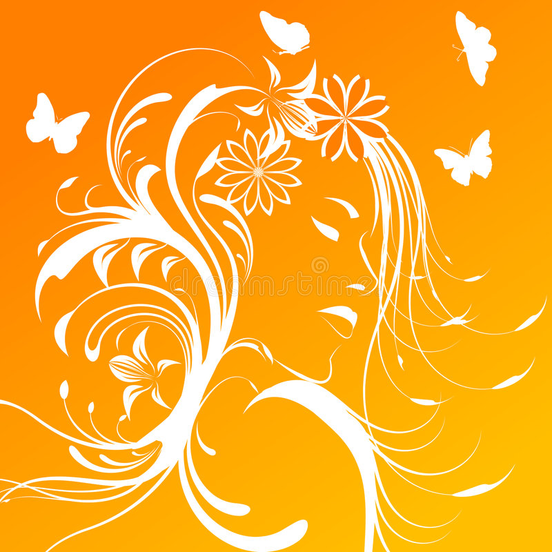 Download Beautiful Girl With Flowers In Hair Stock Vector - Image: 7952083