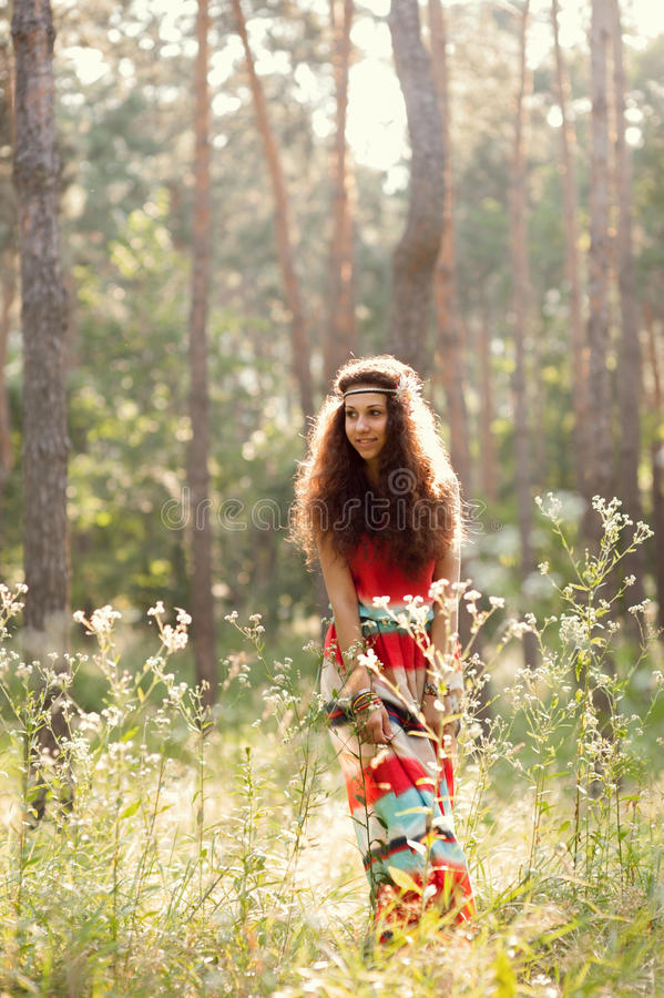 Download Beautiful girl in a forest stock image. Image of cute - 32178071