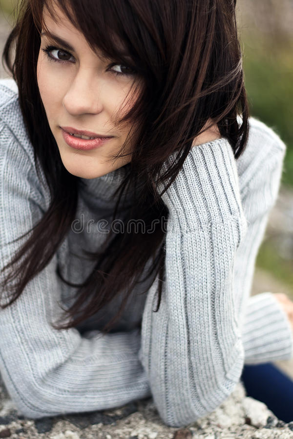Beautiful girl freezing outdoor stock image