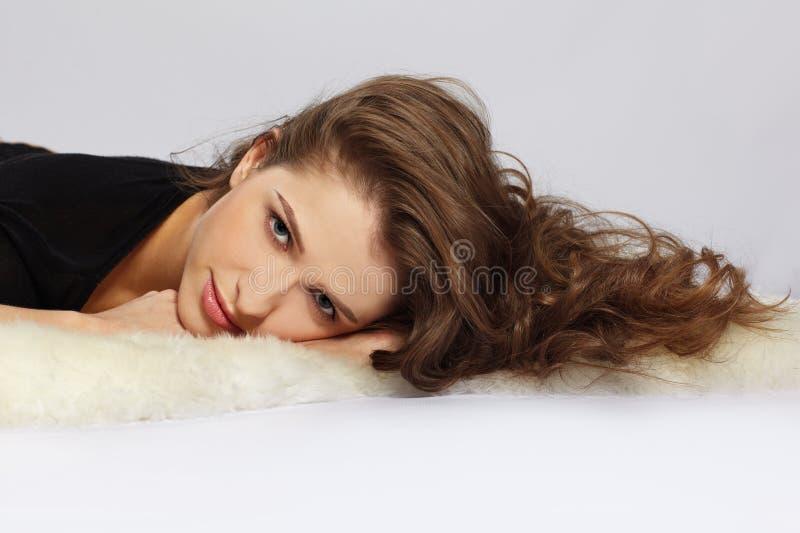 Download Beautiful girl on furs stock image. Image of european - 16494567