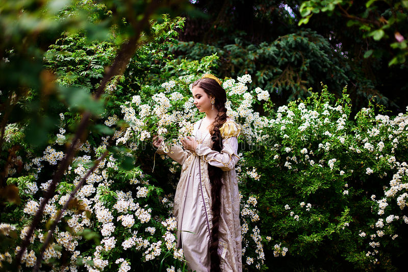Beautiful girl in the garden with flowers in princess dress. With long braided hair royalty free stock images