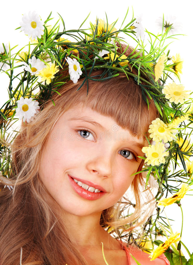 Download Beautiful Girl With Garland Of Wild Flower. Royalty Free Stock Photo - Image: 13012045