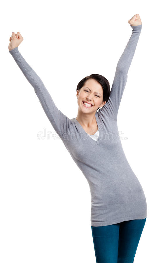 Download Beautiful Girl Gesturing Triumphal Fists Stock Photo - Image: 26323554