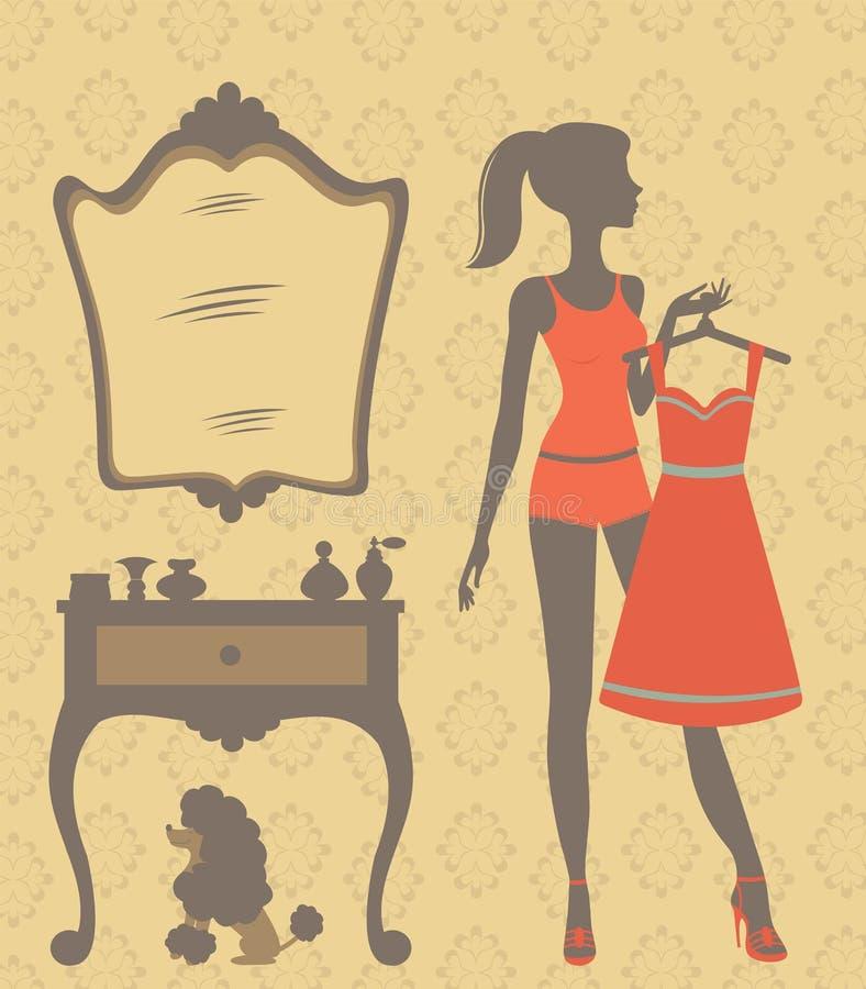 Beautiful girl getting dressed stock illustration