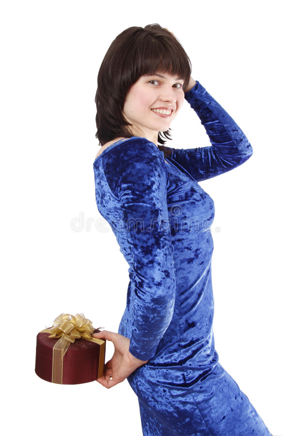 Beautiful girl with a gift. royalty free stock images