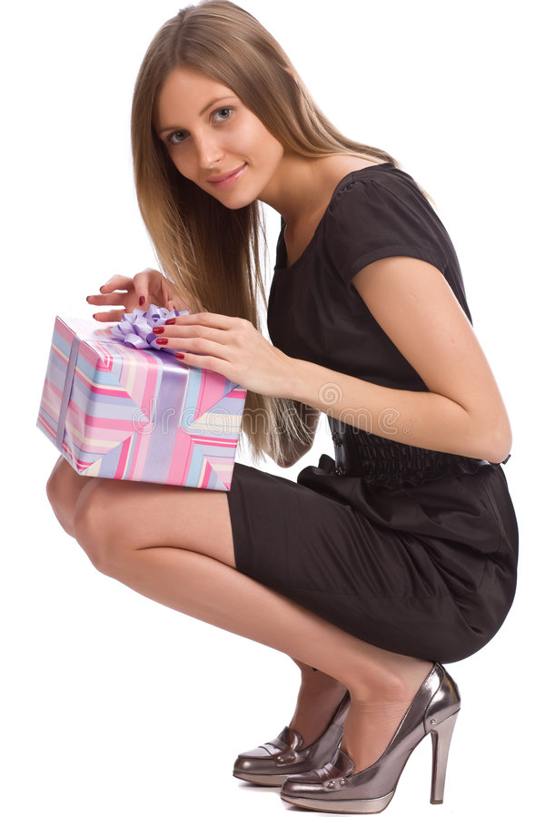 Beautiful girl with gift box stock images