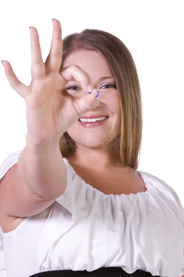 Happy Young Woman Giving OK Gesture Stock Image - Image of