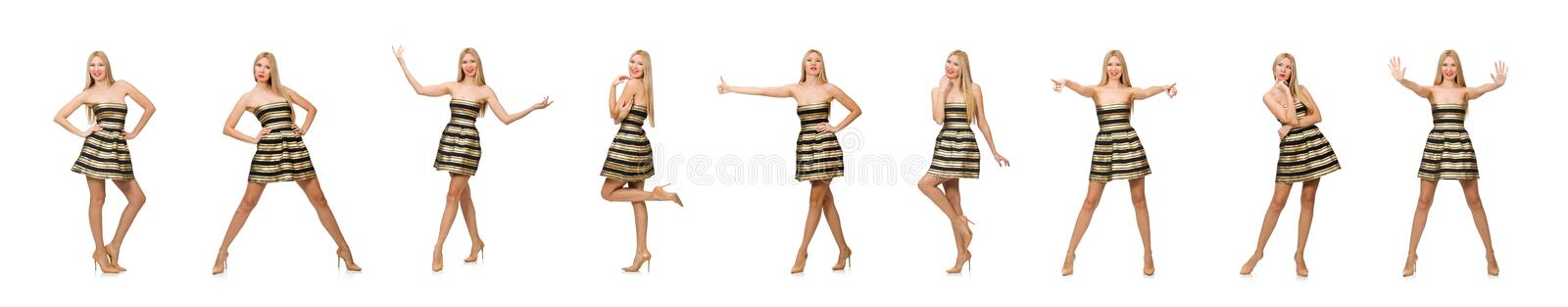Beautiful girl in gold and black dress isolated on white royalty free stock image