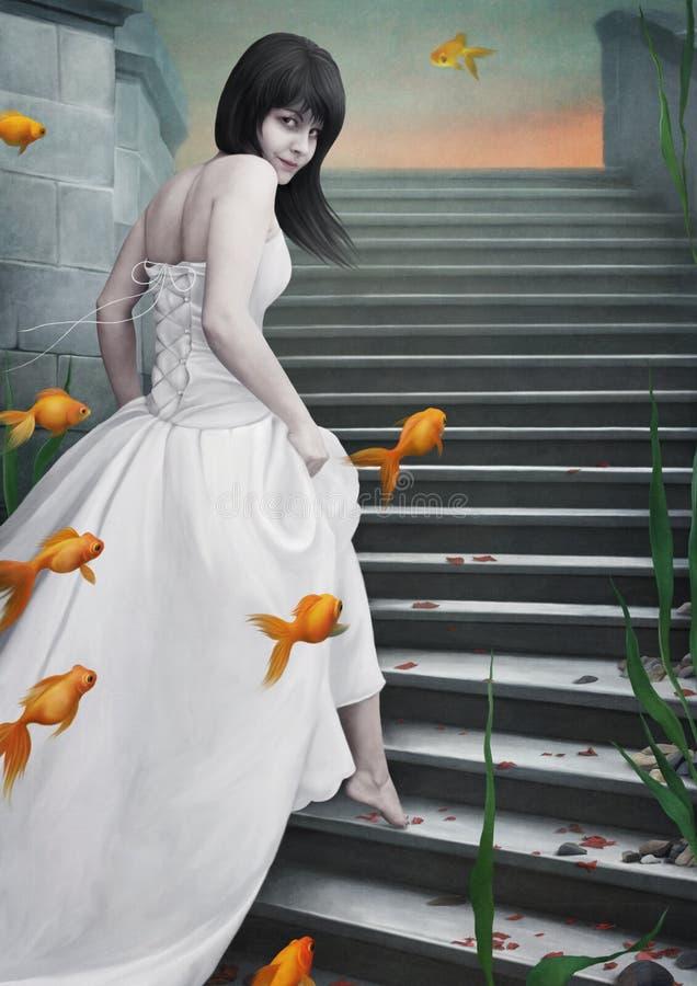 Beautiful girl and goldfish. royalty free illustration