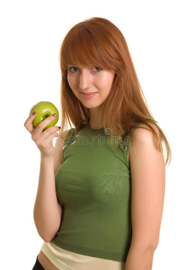 Download Beautiful Girl With Green Apple Stock Photo - Image of holding, clothing: 6342376