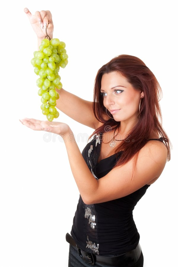 Download Beautiful Girl With Green Grapes Stock Image - Image: 6574147