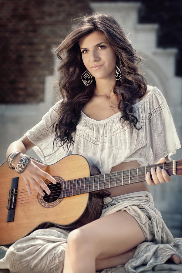 Beautiful Girl With Guitar Stock Images
