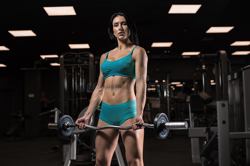 Beautiful girl at the gym royalty free stock photo