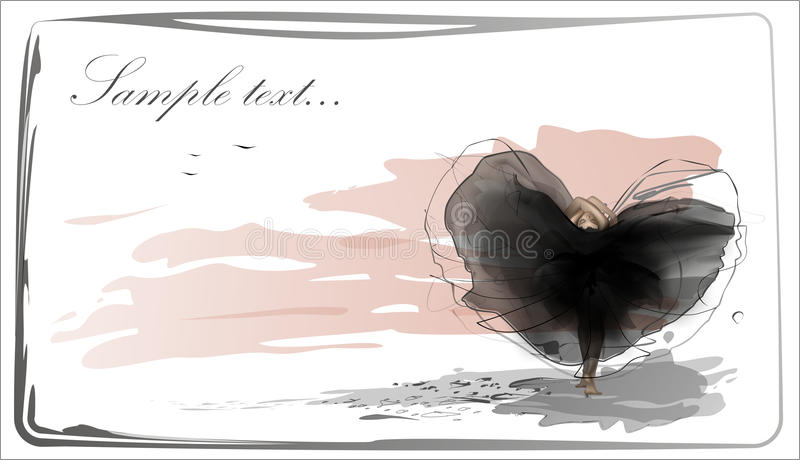 Beautiful girl gymnast in black flying silk dress. On the pink colour background sky stock illustration