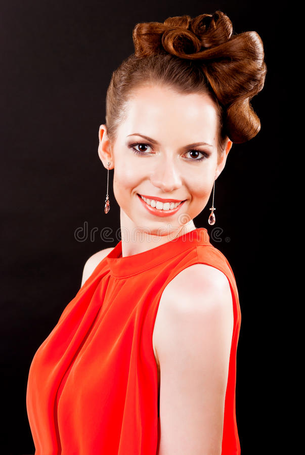 Beautiful girl with hair the evening royalty free stock photo