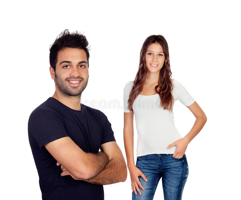 Beautiful girl and handsome guy royalty free stock image