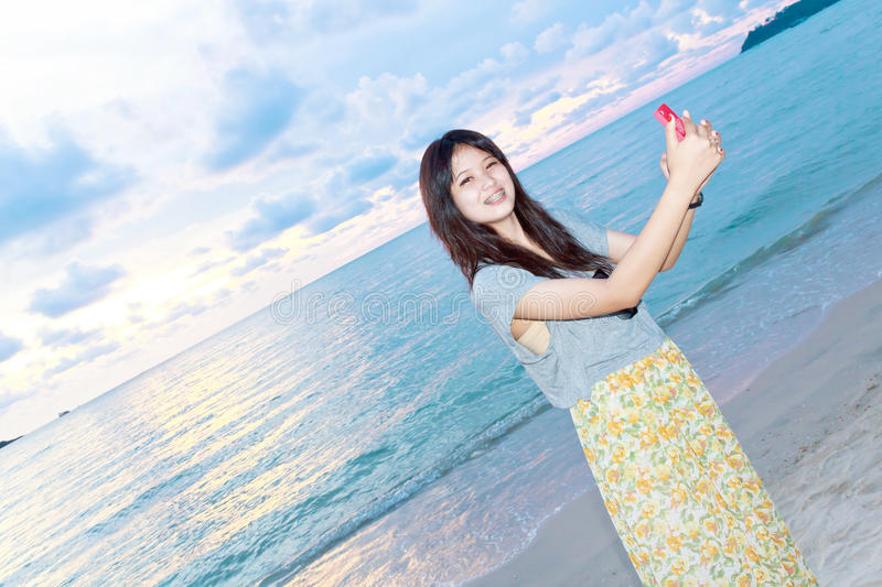 Beautiful girl happy photo with mobile royalty free stock photos