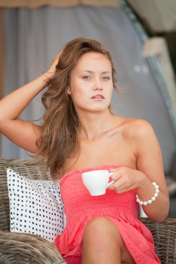 Beautiful girl has a rest stock images