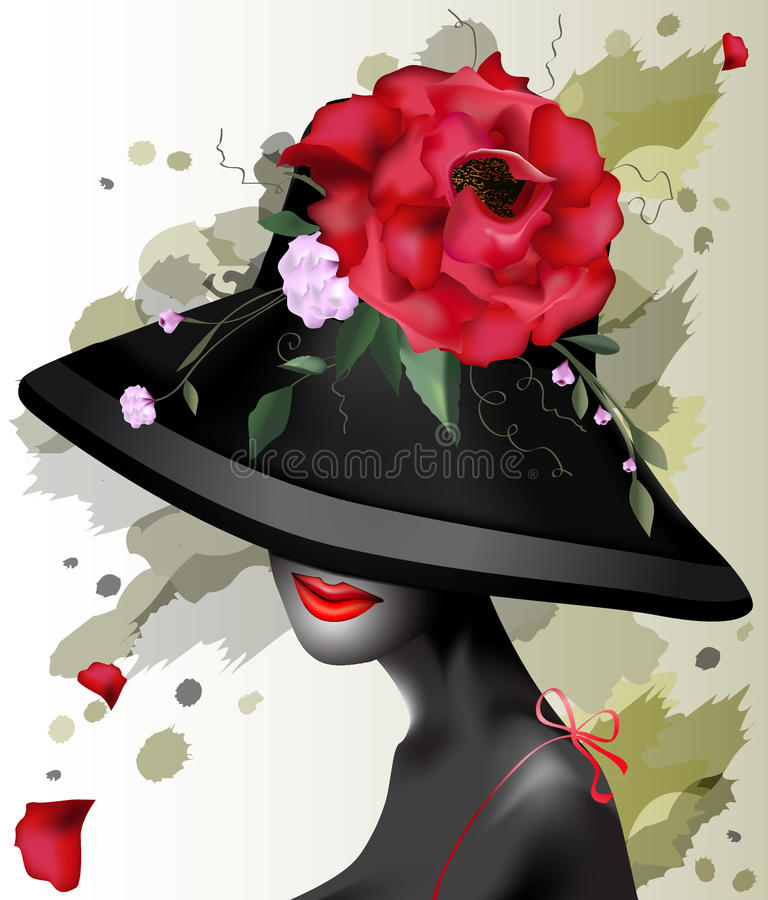 Beautiful girl in a hat with flowers stock photo