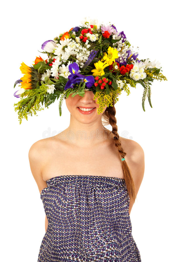 Download Beautiful Girl With Hat Of Flowers Stock Image - Image: 24460025