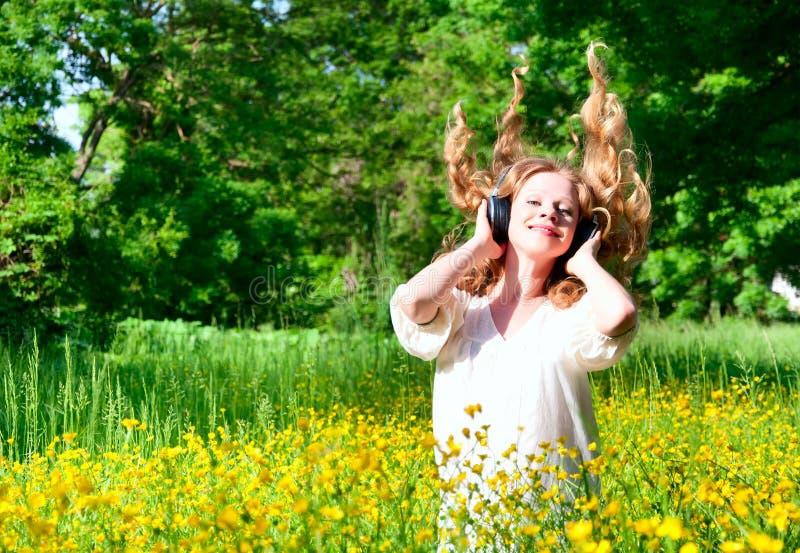 Download Beautiful Girl In Headphones Enjoying Music Stock Image - Image: 25047713