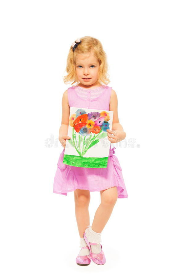 Download Beautiful Girl With Her Flower Drawing Stock Image - Image: 28403613