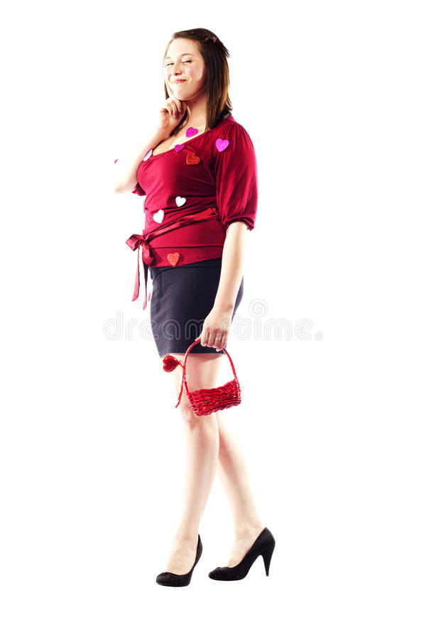 Download Beautiful Girl Holding Basket In Red With Hearts Stock Images - Image: 26615854