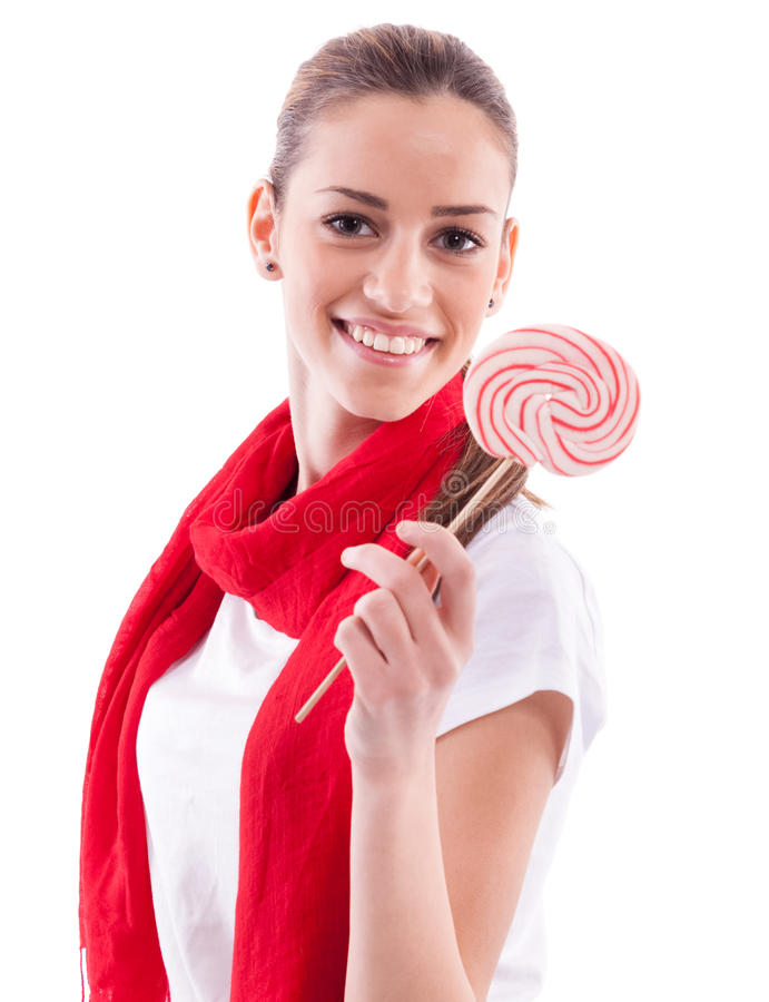 Beautiful girl holding candy royalty free stock photos