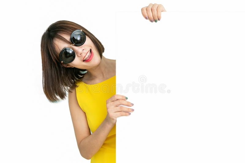Beautiful girl holding empty blank board isolated white background stock photos
