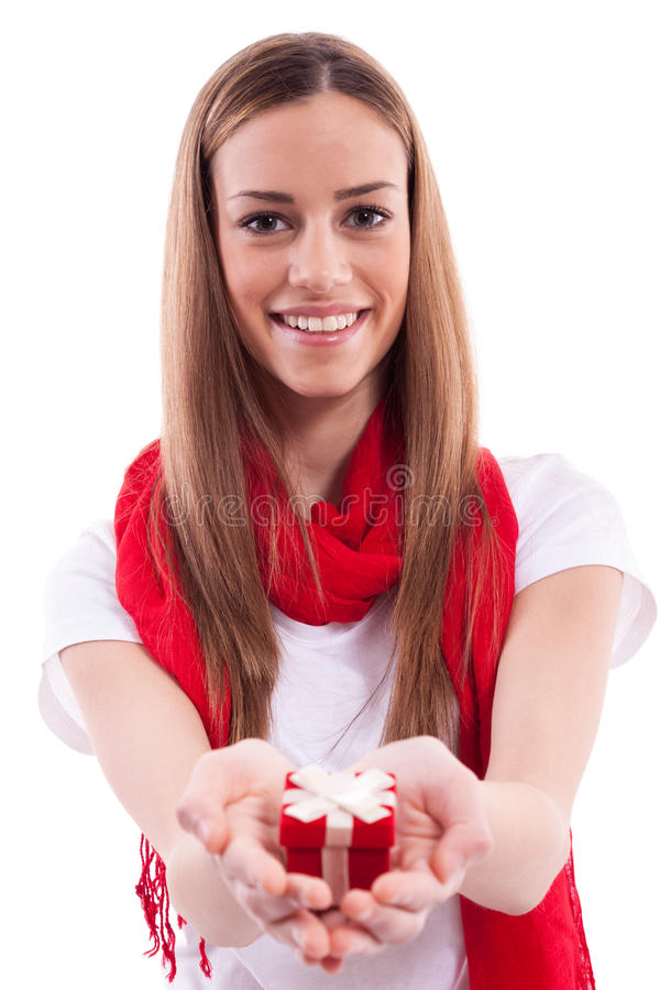 Beautiful girl holding gift stock images