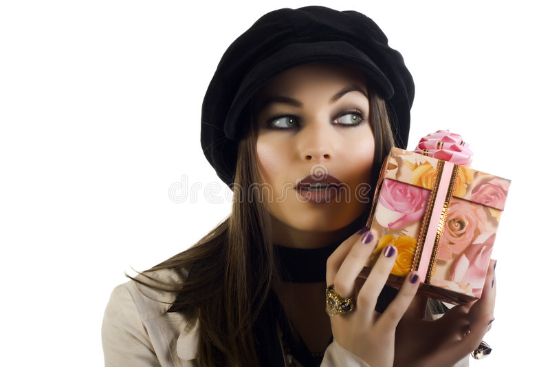 Download Beautiful Girl Holding A Gift Stock Image - Image: 8232889