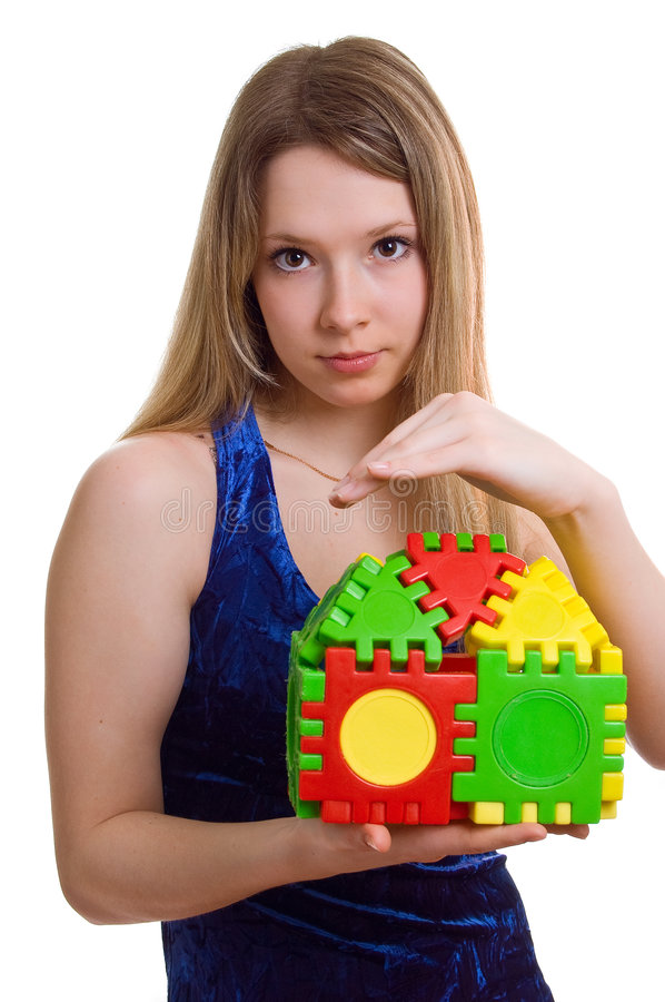 Download Beautiful Girl Holds The Toy House Stock Image - Image: 9180295